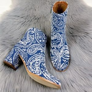 New Indigo Rd. Blue Paisley Print Ankle Booties